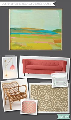 Living room inspiration, pink room, coral room, art, home decor, Wouldn't it be Lovely