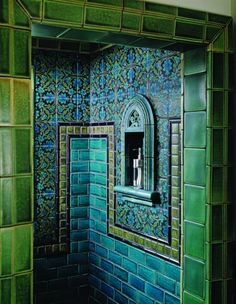 blue, green, black tiles by BDG Design Group, San Diego, CA