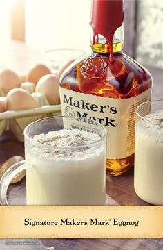This classic eggnog cocktail recipe makes about 24 servings and will make a perfect batch for a holiday party. Find single serve eggnog recipe options and other classic cocktails from Maker's Mark. Christmas Drinks, Holiday Drinks, Party Drinks, Fun Drinks, Yummy Drinks, Alcoholic Drinks, Beverages, Christmas Treats, Holiday Recipes