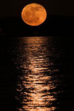Golden Moon over the Mississippi River