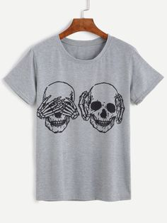 Camiseta manga corta con estampado esqueleto - gris
