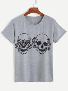 T-shirt imprimé crâne col rond manche courte - gris