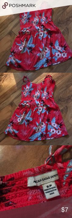 American Eagle Sundress Such a cute change for spring. Beautiful tropical print slight open back sundress by American Eagle. American Eagle Outfitters Dresses Mini