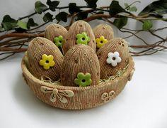 Ceramic eggs & bowl