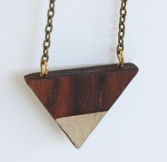 Isosceles Wood Necklace in Kingwood Gilded by Acorn + Archer on Little Paper Planes $40