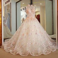 AHS038 New Arrival High-Neck Tulle Sparkly Sweep Train Prom Dresses with Appliques 2017