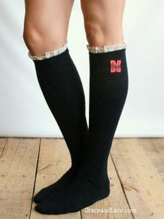 Lacey Fan UNIVERSITY OF NEBRASKA Boot Socks cable knit boot sock with lace and school logo - Collegiate boot socks (Item no.12-8). $35.00, via Etsy.