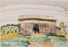 Barn, Charles Burchfield 1917, watercolor and ink and graphite on paper