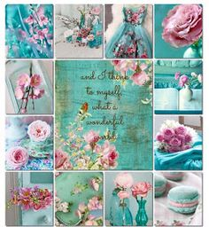 'And I think to myself what a wonderful world. moodboard aqua pink by AT Carta Collage, Mood Colors, Colours, Color Collage, Beautiful Collage, Simply Beautiful, Shabby Chic Bedrooms, Jolie Photo, Colour Board
