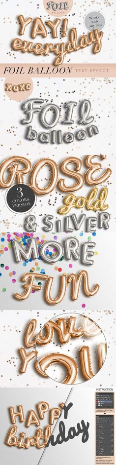 Fun and modern gold, silver, and rose gold foil balloon Photoshop text and shape effects, part of The Modern Designer's Must-Have Bundle.