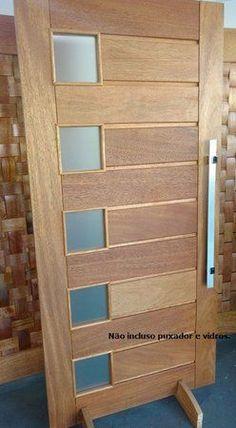 KIT Porta Pivotante Externa MEXICANA 5 VIDROS Madeira Maciça em Cedro Arana - Caixilho de 14 cm