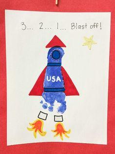 Rocket footprint art preschool nasa