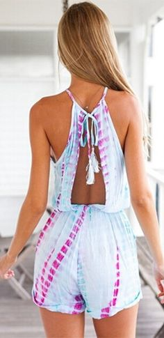 d361cbc76cf Light Blue Purple Tie Dye Sleeveless Scoop Neck Halter Tie Waist Short  Romper - Sold Out