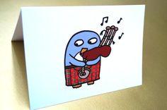 Funny Scottish Penguin Piper Card Birthday  by penguinparadeshop