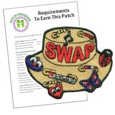 SWAP Hat Fun Patch. This patch is a perfect keepsake for troop who like making and trading SWAPs with other Girl Scouts. Download our suggested requirements. Available at MakingFriends.com