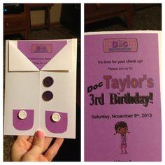 Taylor's 3rd Doc McStuffins birthday invite :)