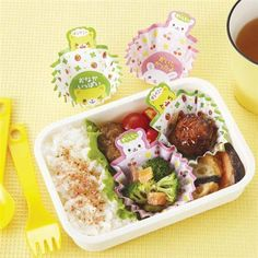 rabbit cat bento lunch box paper cups with handles
