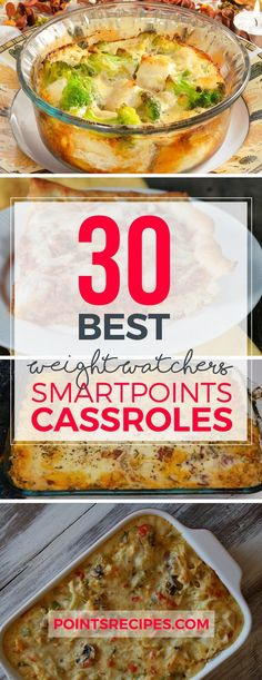 Weight Watchers SmartPoints Casseroles are a great and easy way to feed your entire family without guilt. You can make one of these delicious meals for dinner, and know that you won't be slaving over Plats Weight Watchers, Weight Watchers Diet, Weight Watchers Smart Points, Weight Watcher Dinners, Ww Recipes, Skinny Recipes, Cooking Recipes, Healthy Recipes, Recipies