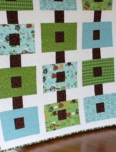Baby boy quilt made from @Riley Moore Blake Hooty Hoot line