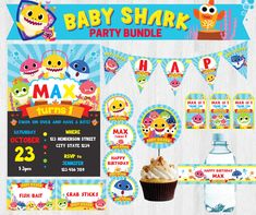Pinkfong Baby Shark/ Under the Sea Happy Birthday Party Pack, Party Set, Party Package, Party Kit, Party Bundle Printable by TwinklePartyFairy on Etsy https://www.etsy.com/listing/571998006/pinkfong-baby-shark-under-the-sea-happy