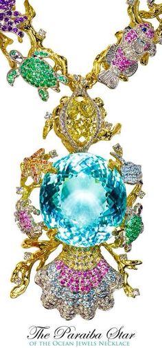The Paraiba Star - a carat Tourmaline necklace. In the center a carat fancy yellow diamond Gems Jewelry, High Jewelry, Jewelry Box, Bling Jewelry, Jewlery, Hope Diamond, Rare Gems, Turquoise, Animal Jewelry