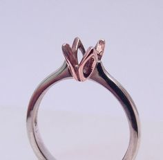 a4216389b80b53 14K white rose gold TULIP solitaire Engagement ring mounting for your  gemstone. 5mm thru 7mm Round c