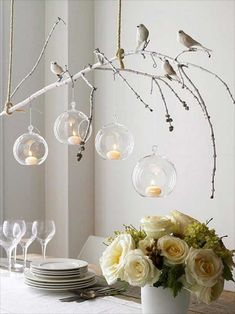 Tree Branch Decor Ideas For Lighting With Candle And Birds Over Dining  Table : Branch Decor Ideas For Home. Branch Decor Wall Art,branch Home Decor ,branch ...