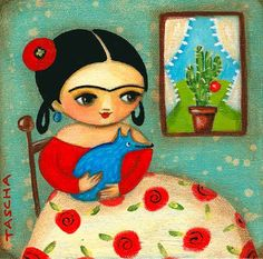 Frida Kahlo blue dog ORIGINAL painting on stretched by tascha