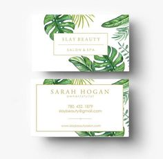 pre made business card design business card template branding template banana leaf print tropical print card boutique logo