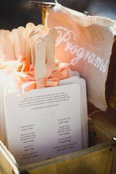 wedding programs that double as a fan. Idea for an outdoor wedding...outdoor wedding idea! plz repin, like or follow!