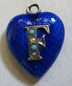 Vtg Antique Silver Basse Taille Enamel Turq Pearl Victorian Puffy Heart Charm | eBay