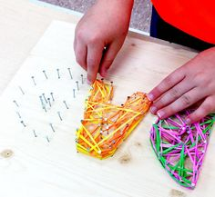 I saw this adorable Father's day gift idea from Peel Montessori(A school in Ontario Canada) and just had to share!! Make sure the kids are old enough to know safety use of a hammer and nails before you do this. Supplies Needed: Nails Hammer Wood Rubberbands or string Printer or write your own bubble letters …