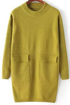 Green Long Sleeve Pockets Knit Sweater Dress - abaday.com