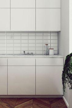 Sleek interior with fantastic chevron floor - NordicDesign