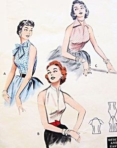 1950s Rockabilly Quick n Easy Blouses Pattern Butterick 6965 Day or Evening 3 Hot Styles Bust 30 or 34 Vintage Sewing Pattern