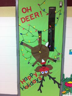 Classroom door decoration!  I've seen it used with real lights but that wasn't an option for me.  So, I printed off a christmas light clipart and had my students decorate with do-a-dot painters and markers (their choice).  Then I used yarn for the string, pipe cleaner with real jingle bells for his collar.
