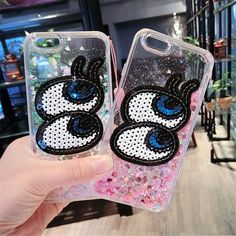 For iPhone 5 6 6S 7 Plus For Samsung S6 S7 edge S8 Note5 2017 Luxury Bling Liquid sand quicksand shell Big eyes soft phone case #Affiliate