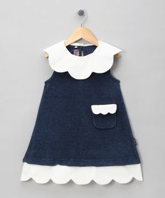 Navy Trapeze Dress with Scallop Edge Kit - Toddler & Girls by Juggle Angels on #zulilyUK today!