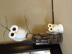 Owls made with toilet paper rolls and cupcake liners