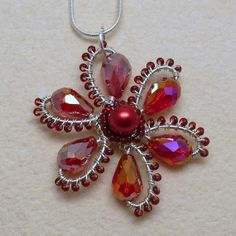 Red Flower Pendant Necklace Wire Wrapped