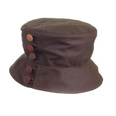 waxed cotton rainhat with buttons.