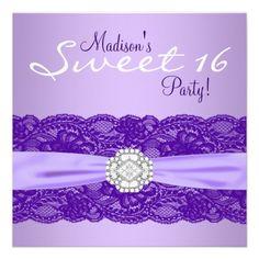 Purple Sweet 16 Birthday Party Invitation