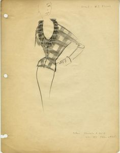 James Galanos sketches for Jimi Originals ➔ Yellow and Black Plaid Blouse with Fringed Neckline, circa 1950.