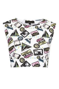 Petite Stamp Print Crop Top - Topshop price: £10.00