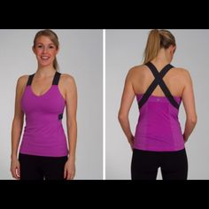Lululemon Push UR Limits Tank size 8 Gently used, in very good condition. It's a pink/purple color with dark grey. Pads included. lululemon athletica Tops Tank Tops