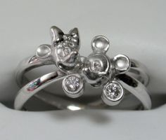 Disney Mickey & Minnie 18k Diamond Engagement/Promise Ring - Unique from divinefind on Ruby Lane