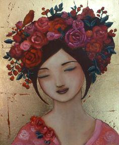 P1150368 Claudia Tremblay, Art Visage, Art Et Illustration, Mosaic Crafts, Angel Art, Woman Painting, Face Art, Painting Inspiration, Art Girl