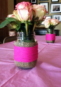 DIY Mason jar flower arrangement for a little girls baby shower #Burlap #Yarn