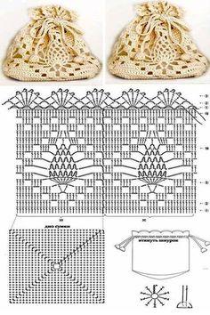 Dainty crocheted Reticule / Pouch purse diagram