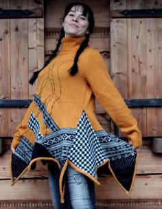 Crazy recycled sweater tunic. Made from recycled clothing, recycled sweaters. Remade, reused, and upcycled. Hippie boho folk style. One of a kind.